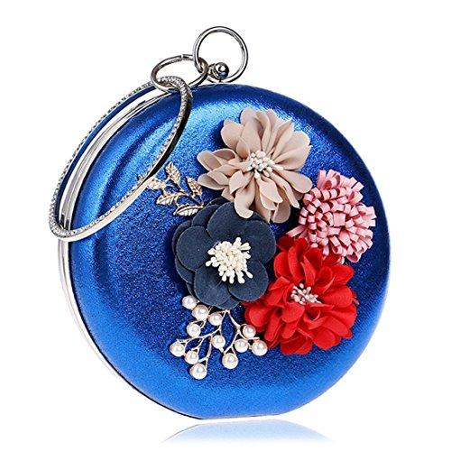 Bag Evening evening Handbag Women's Fly Blue Flower Hand Dress Silver Lady's Bag Color Fashion Evening bag ywqfAFBAY