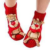 Christmas Non-slip Knit Sweater Warm Household Floor Socks for Women Warm Winter Indoor Floor Slipper Socks 3D Cartoon Animal House Socks for Women (Reindeer)