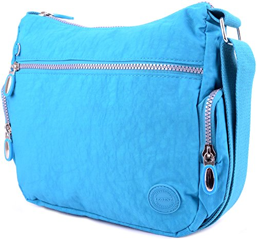 Messenger' Womens Crinkled Bag Body Turquoise Nylon 'Small Ladies Cross Shoulder wOgT0dgxq