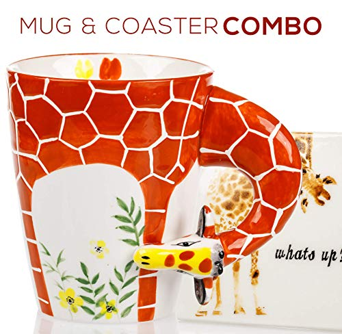 Giraffe Mug & Coaster Gift Set - Unique Hand Painted Novelty 3D Ceramic Giraffe Coffee Mugs Gifts. Includes Cute Coaster With a Fun what's up phrase. A Cool Cup for Coffee Tea or Kitchen Bedroom Decor ()