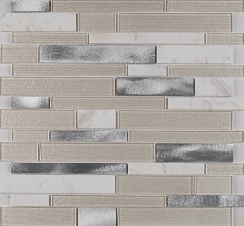 M S International White Wave Interlocking 12 In. X 4 mm Glass/Stone/Metal Mesh-Mounted Mosaic Tile, (20 sq. ft., 20 pieces per case) ()