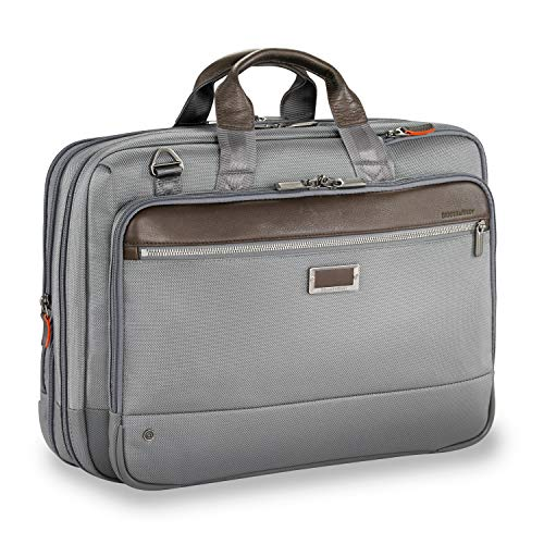 - Briggs & Riley Large Expandable Brief Briefcase, Grey, One Size