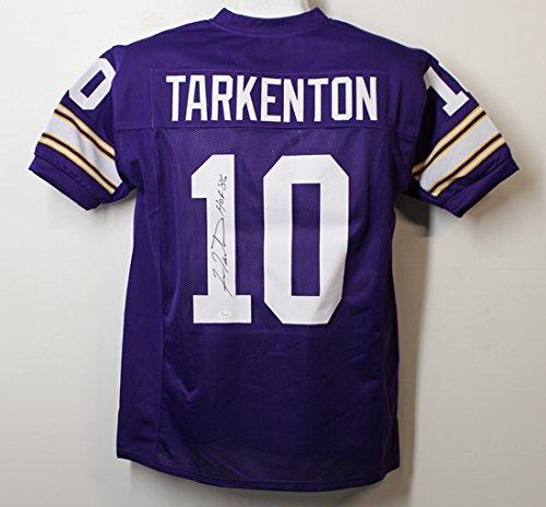 Riddell Minnesota Vikings Revolution (Fran Tarkenton Autographed Minnesota Vikings size XL Purple Jersey w/HOF 86 JSA)