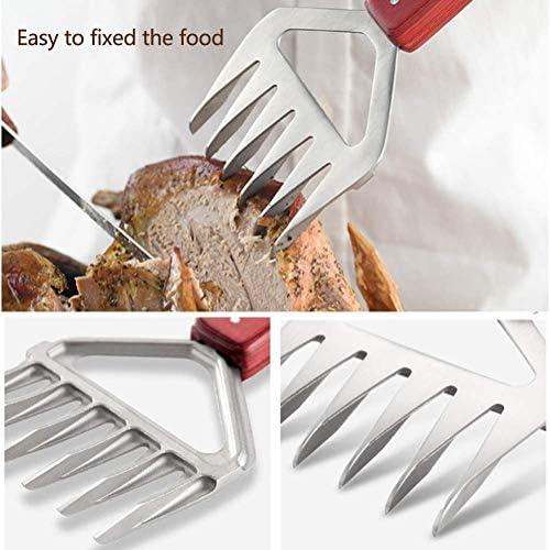 Adesign - Fourchettes à viande en acier inoxydable - Avec poignée en bois - Outils de barbecue