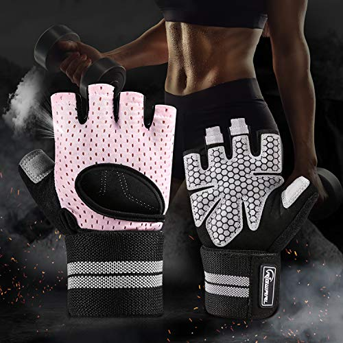 RIGWARL Workout Gloves for Women Men, Training Gloves with Wrist Support for Fitness Exercise Weight Lifting, Climbing, Boating, Dumbbells, Cross Training (Pink, M) (Best Weight Lifting Clothes)