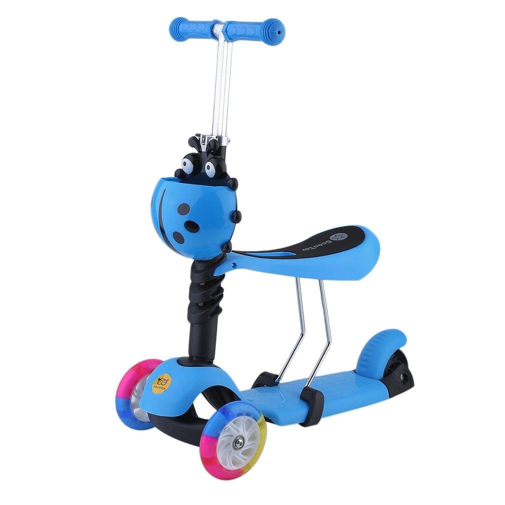 Blackpoolal 3-in-1 Kinderroller mit Sitz Cityroller Tretroller Kickboard Dreiradscooter Höhenverstellbar Kinder Roller Scooter Skateboard LED Räder 3-Rad Blau