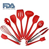 Silicone Kitchen Cooking Utensils Set, Non-stick & Heat-resistant, Picnic Barbecue Baking tools (10 pieces, red)
