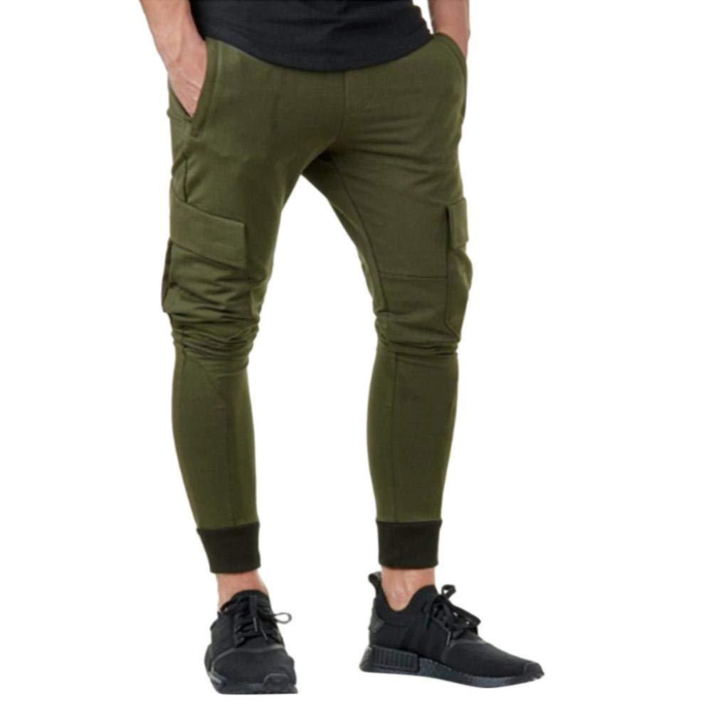NREALY Pants Men's Casual Autumn Winter Cotton Hip Hop Sports Trousers Joggers Cargo Pants(M, Army Green)