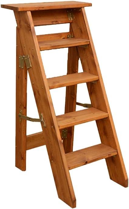 C-J-Xin Escalera de madera, escalera de un solo lado para el hogar, escalera de dormitorio de la cocina Soporte de flor Estantería de libros Escalera plegable Escalera de casa (color : B):