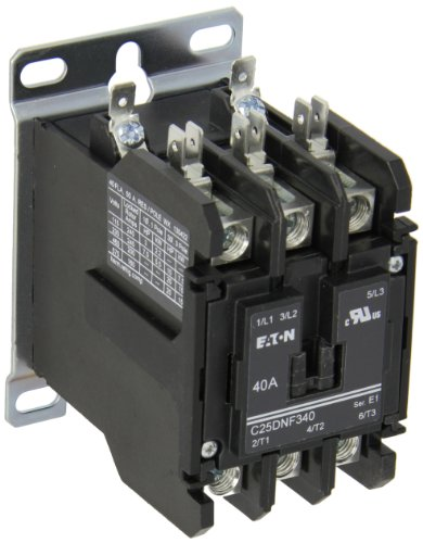 (Eaton C25DNF340A Definite Purpose Contactor, 50mm, 3 Poles, Box Lugs, Quick Connect Side By Side Terminals, 40A Current Rating, 3 Max HP Single Phase at 115V, 10 Max HP Three Phase at 230V, 20 Max HP Three Phase at 480V, 120VAC Coil Voltage)