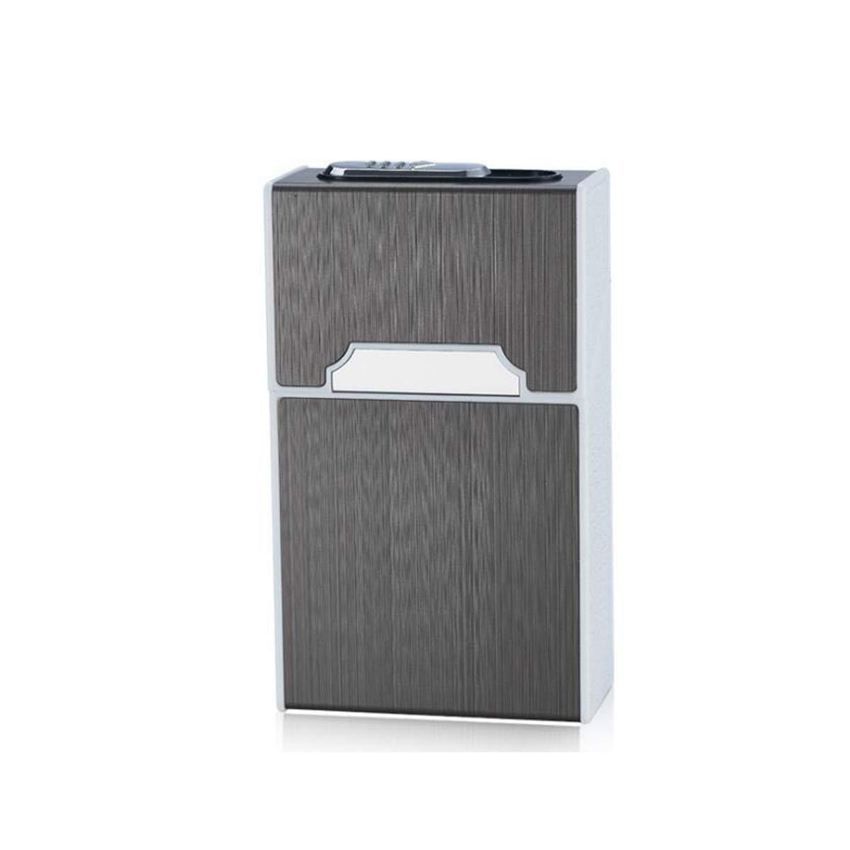 ZHONGYUE Men's Aluminum Alloy Plastic Slender Cigarette Case, USB Charging, Cigarette Box, Gold, Black, White, Send Father Birthday Gift Unique Design, Sturdy and Lightweight. (Color : Black)