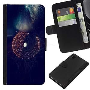 For Sony Xperia Z1 L39 Case , Earth Space Sci-Fi Futuristic Planet - la tarjeta de Crédito Slots PU Funda de cuero Monedero caso cubierta de piel