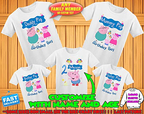 (Peppa Pig Birthday Shirt for girls, Peppa Pig Custom Shirt, Personalized Peppa Pig Shirt, Peppa Pig family shirts,George Birthday t-shirt for boys, Personalized custom George birthday shirt)