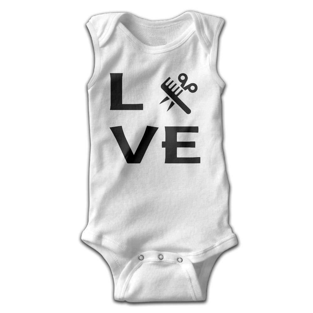 Love Hairstylist Infant Baby Boys Girls Infant Creeper Sleeveless Rompers Romper Jumpsuit White