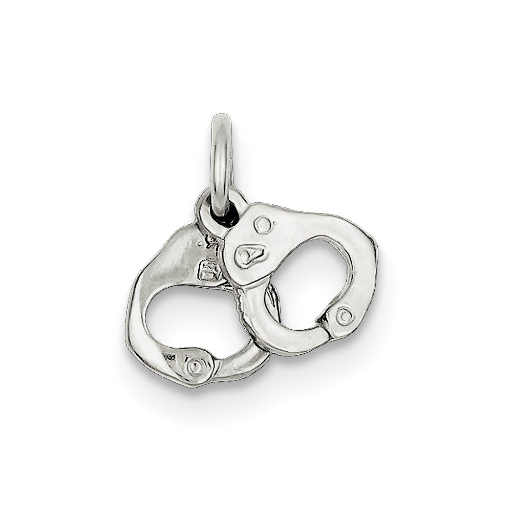 Sterling Silver Polished Handcuffs Charm (0.4IN long x 0.7IN wide)
