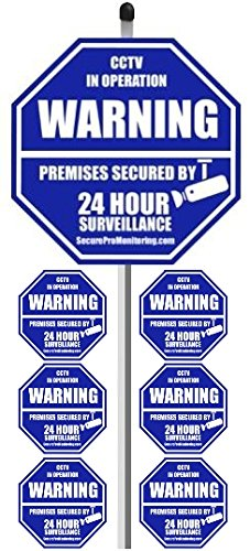 1 Real Cctv Security Camera Home Alarm Yard Sign 9 X 9 With 36 Long Post With 6 Security Alarm System Stickers White Blue