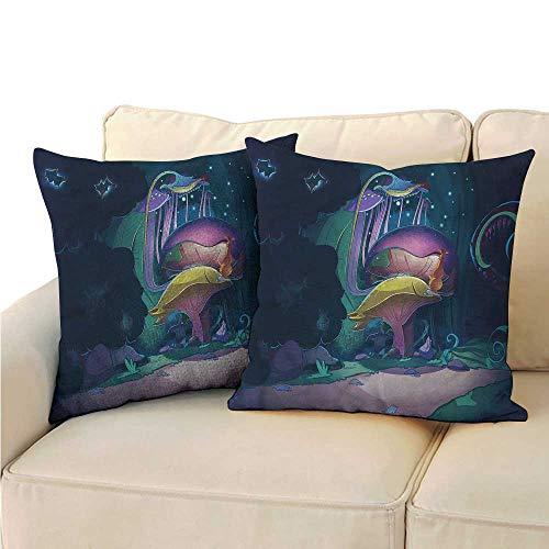 (RuppertTextile Mushroom Breathable Pillowcase Big Magical Plant Cushion W13 x L13)