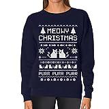 Meeowee Christmas Ugly Sweater - Cute Xmas Party Women Sweatshirt with Xmas Prop