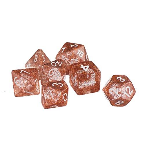 MagiDeal 7pcs/set TRPG Game Dungeons & Dragons Glitter D4-D20 Multi Sides Dice Orange
