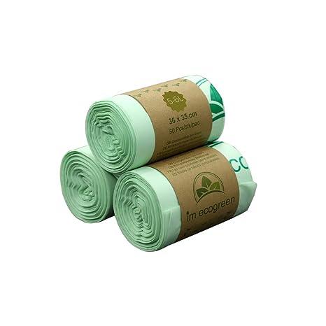 Bolsa de basura biodegradable 100 % IM ECOGREEN, 5-6 litros, 150 unidades, extragruesa, biodegradable y compostable, con certificado EN 13432