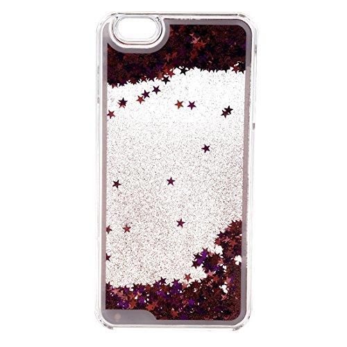 Caja de arenas movedizas de telefono celular - TOOGOO(R)Caja lujosa transparente de arenas movedizas liquidas y de estrella brillante para iPhone 6Plus/6sPlus rosado