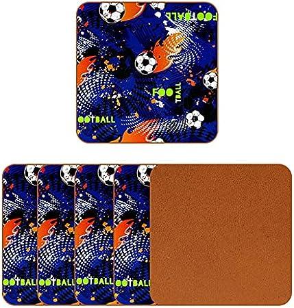 Portavasos Fútbol Fuego Fresco Posavasos de Cuero Juego de 6 Coaster para Vaso/Copa de Bebida/Copa de Vino Tinto/Copas/Vaso de Cerveza 10.3x10.3 cm
