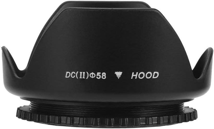 58Mm Flower Shape Lens Hood Screw Mount Petal Crown For Canon Dc-Sn Hood Lens Black