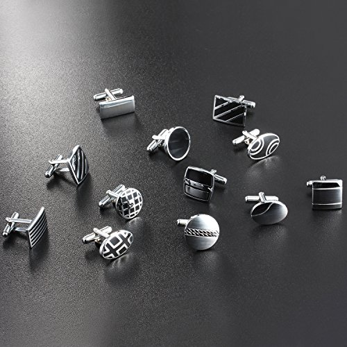 Luckeyui 12 Pairs Cufflinks Set Gifts for Men Vintage Wedding Tuxedo Shirt Cuff Links Silver & Black by Luckeyui (Image #6)