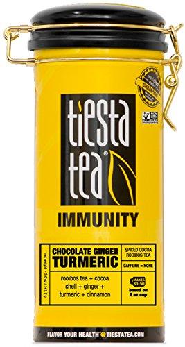 Tiesta Tea Chocolate Ginger Turmeric Spiced Cocoa Rooibos Tea, 50 Servings, 5 Ounce Tin, Caffeine Free, Loose Leaf Herbal Tea Immunity Blend, Non-GMO