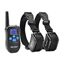 Petrainer PET998DRB2 Rechargeable and Rainproof 330 yd Remote Electronic Dog Training Collar with Beep, Vibration and Electric Stimulation for Two Dogs