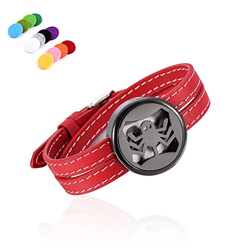 constantlife Passion Red &Black Stainless Steel Fragrance Essential Oil Diffuser Lockets Adjustable Leather Band Bracelet X'Mas Gift Girl Women (Spide) -