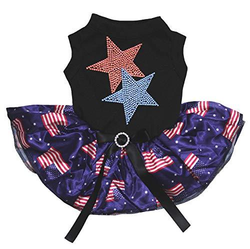 Petitebella Rhinestones Twin Star Black Shirt USA Flags Tutu Puppy Dog Dress - Stars Twin Rhinestones