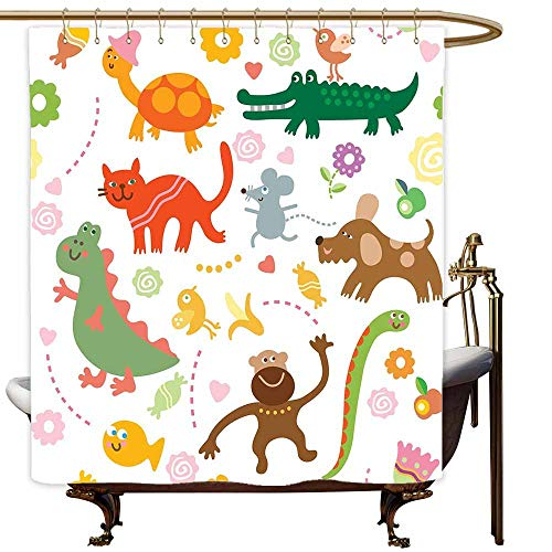 SKDSArts Shower Curtains Texas Boys,Jolly Cartoon Animals Colorful Flowers and Hearts for Cheerful Babies and Children,Multicolor,W72 x L72,Shower Curtain for Women
