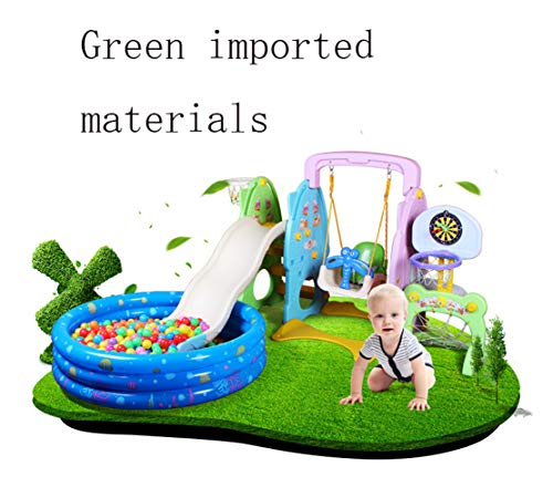 Slide Swing Set Toddler Climber with Music and Basketball Hoop Playset for Both Indoors Backyard,Green by Thole (Image #3)