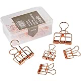 Wire Binder Clip, Assorted size, 9 Clips in box (Rose Gold) - HVS