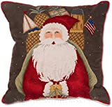 Handmade Traditional Williamsburg Papa Noel Saint Nick Nicholas 100% Wool Needlepoint Decorative Seasonal Winter Holiday Santa Claus Father Christmas Antique Style Throw Pillow. 18'' x 18''.