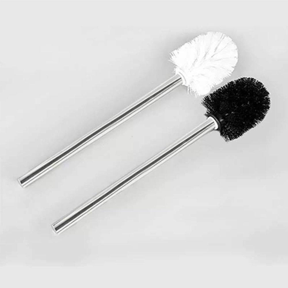 nero spazzola in ABS con testa lucida per tutti i tipi di WC Spazzolino per WC con manico in acciaio inox Lunghezza totale: circa 37,5 cm