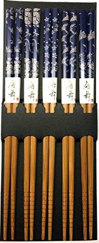 JapanBargain 3649-L 3649 Bamboo Chopstick, 9in, Blue Print