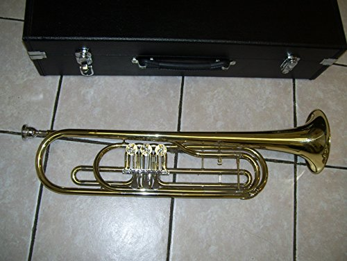 Bass trumpet with case and mouthpiece, gold color