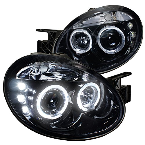Spec-D Tuning LHP-NEO03G-TM Dodge Neon Srt4 Dual Halo Led Glossy Black Projector Headlights - Dodge Neon Halo Headlights