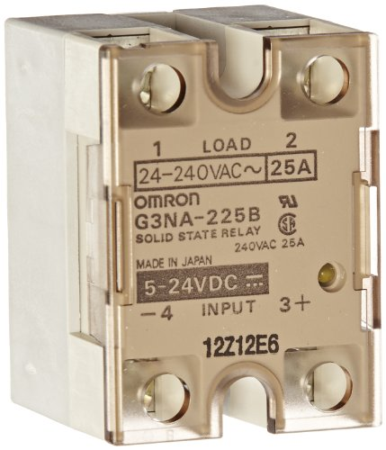 Omron G3NA-225B DC5-24 Solid State Relay, Zero Cross Function, Yellow Indicator, Phototriac Coupler Isolation, 25 A Rated Load Current, 24 to 240 VAC Rated Load Voltage, 5 to 24 VDC -
