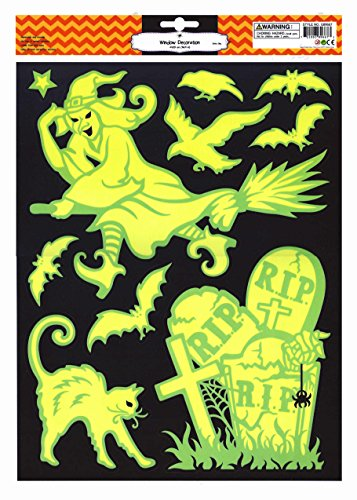 Halloween Window Clings Glow in Dark Bats Cat Witch in Graveyard (Halloween Cat Decorations)