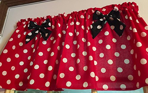 "Red Polka Dot Black Bows Cotton Window Curtain Valance handmade 42""W x 15""L Fabric"