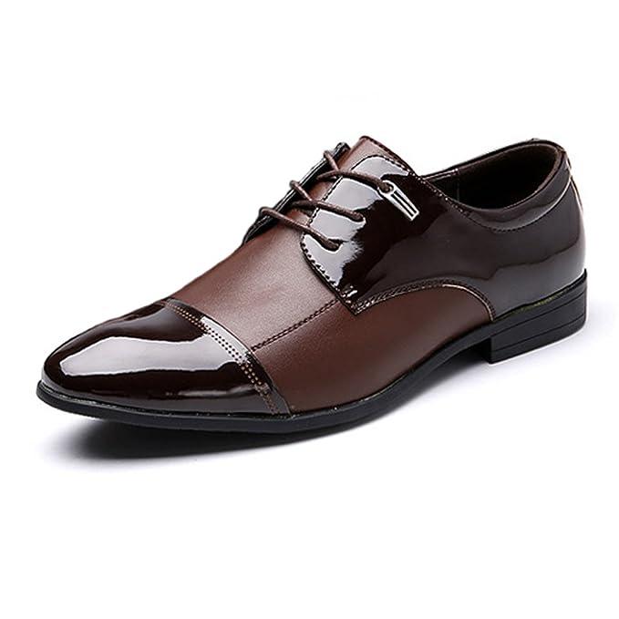 new product e2287 c15b9 Hilotu Zweifarbige braune und schwarze Lack-Oxford-Schuhe ...