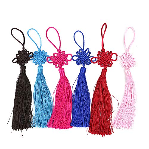 Monrocco 12 Pcs Chinese Knotted Rayon, Fringed Chrysanthemum, Safe Knot, Handmade Fringed Tassel, Spike, New Year Gift, Fringed Tassel