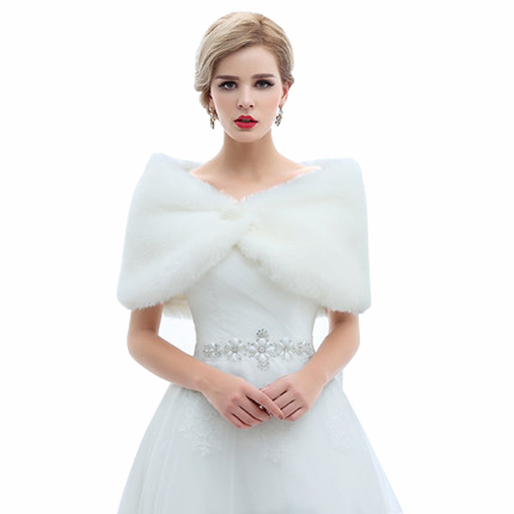 Flowerry Women Faux Fur Bridal Shawl Wrap Winter Bridal Wedding