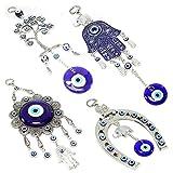 Set of 4 Blue Blue Evil Eye Keychain Key Ring Wall
