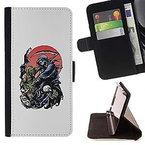 BullDog Case - FOR/HTC DESIRE 816 / - / REAPER GRIM DEATH SCYTHE MAIDEN /- Monedero de cuero de la PU Llevar cubierta de la caja con el ID Credit Card Slots Flip funda de cuer