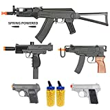 BBTac Airsoft Gun Package - Rebels Collection of 5 Airsoft Guns - Spring Action AK Rifle, Skorpion, UZ and Dual Mini Pistols, 4000 BB Pellets, Great for Starter Pack Game Play