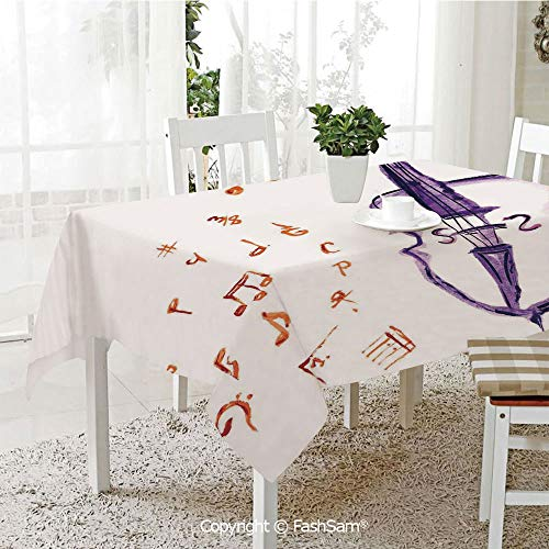 AmaUncle 3D Print Table Cloths Cover Musical Notes